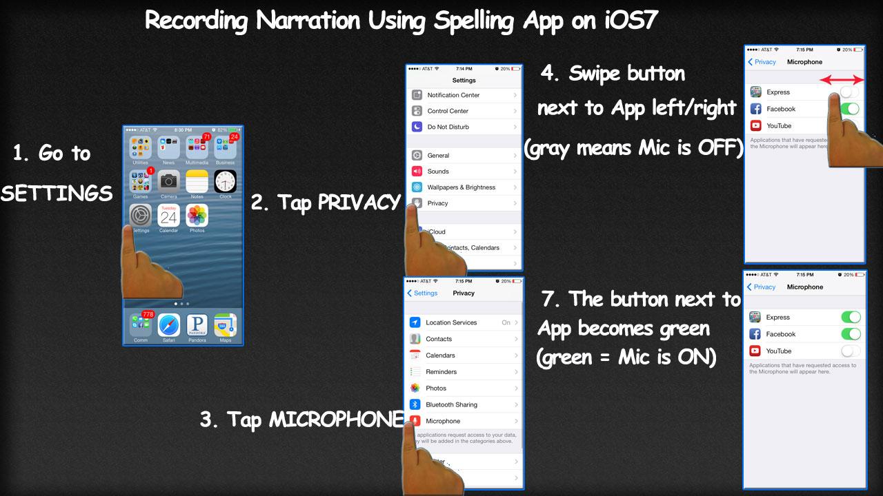 Recording Narration Using Spelling App on iOS7