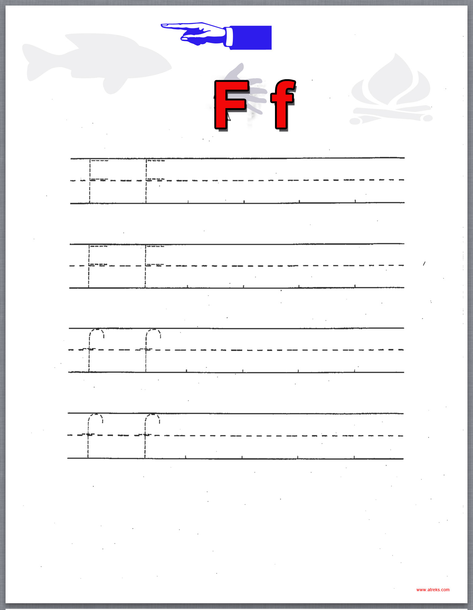 Ff on printable letters to trace