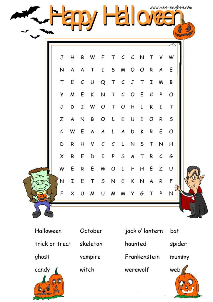 Halloween Printable Word Search Puzzle