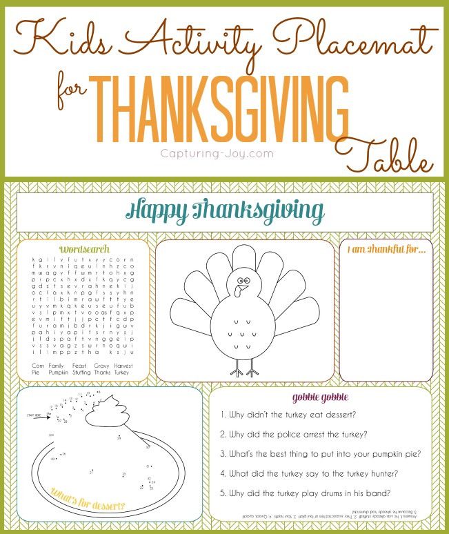 Kids Thanksgiving Activity Placemat Printable