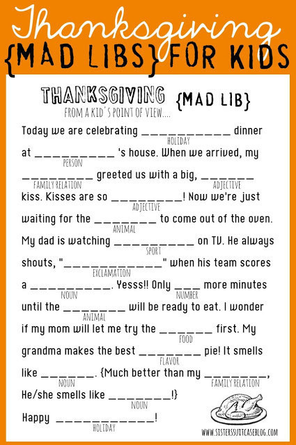 MadLibs Thanksgiving Words Activity